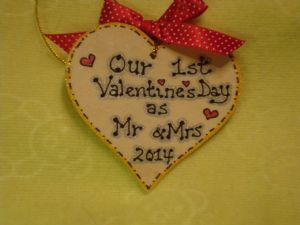 Our 1st  Valentine's Day as Mr & Mrs  2014 Small Wooden Heart Sign Keepsake Gift Ready To Despatch